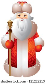 Ded Moroz Russian Matryoshka style, New Year's fairy tales character, plays a role similar to that of Santa Claus. Grandpa Frost or Father Frost, Dedushka Moroz, accompanied by Snegurochka Snow Maiden