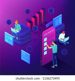 Dedicated team working on a project isometric concept. Business anlyst, front end and beck end developers implementing features. Software development on ultraviolet background. Vector 3d illustration.