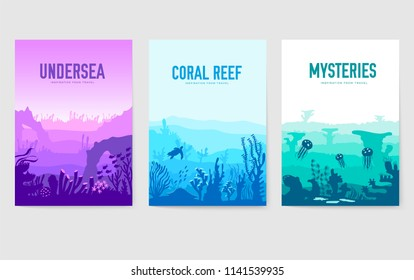 dedicated to undersea vector brochure cards set. Coral reef in the ocean template of flyear, magazines, poster, book cover, banners. invitation concept background. Layout illustration modern