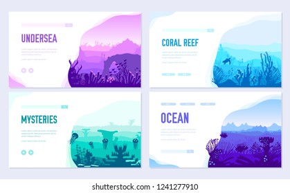 dedicated to undersea vector brochure cards set. Coral reef in the ocean template of flyear, web banner, ui header, enter site. Invitation concept background. Layout illustration modern slider