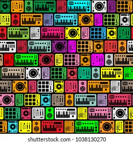 Deejay equipment seamless pattern icons