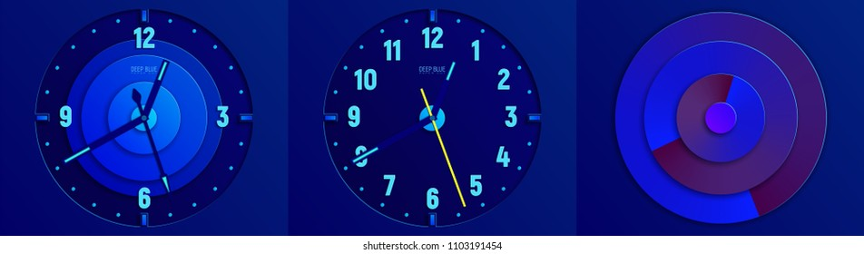 Deep blue abstract paper cut vector illustration. Three dials of clock for your design.