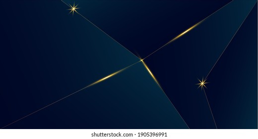 Deep Blue Luxury Gold Background. New Year Christmas Celebration Frame. Royal Premium Business Design 3D Abstract Polygonal Sparkle Cover. Golden Silver Triangular Banner Luxury Crystal Gold Card