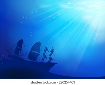 Deep blue ocean with old pirate ship shipwreck as a silhouette underwater background, create by vector.