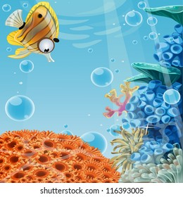 Deep blue sea with coral reefs and sea anemones. Banner for your text