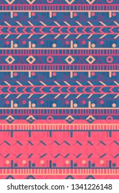 deep blue and vivid pink colorful seamless horizontal stripes pattern tile with ethnic design for textile, fabric, wallpaper, covers, brochures, posters, backgrounds and creative surface designs