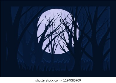Deep dark forest with full moon