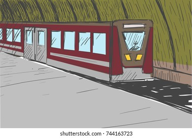 Deep depot with a train. There are no people at the station. Doors are closed. You can see the driver through the windshield.