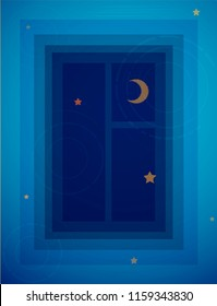deep dive to the night dream concept, reflection window night with moon and star in the water, vector