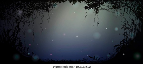 deep fairy forest silhouette at night with moonlight and fireflies, vector