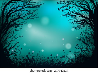 deep fairy forest silhouette at night, fireflies in the  summer forest