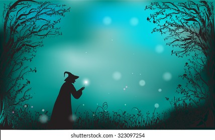 deep fairy forest silhouette and witch with magic wand, halloween fairy background