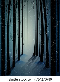 deep fairy frosty winter forest with mistery light, shadows, sullen winter forest, scared cold frosty woods, vector