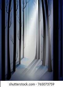 deep fairy frosty winter forest with mistery light beam, shadows, fairy winter woods, vector