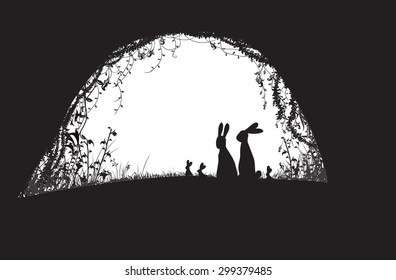 deep forest cave with family of hares, black and white, vector,