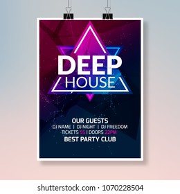 Deep house dance music poster. Music party flyer banner design. Disco night club event template.