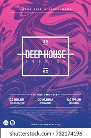 """Deep house"" party poster. Modern marble flyer design. Eps10 vector template."
