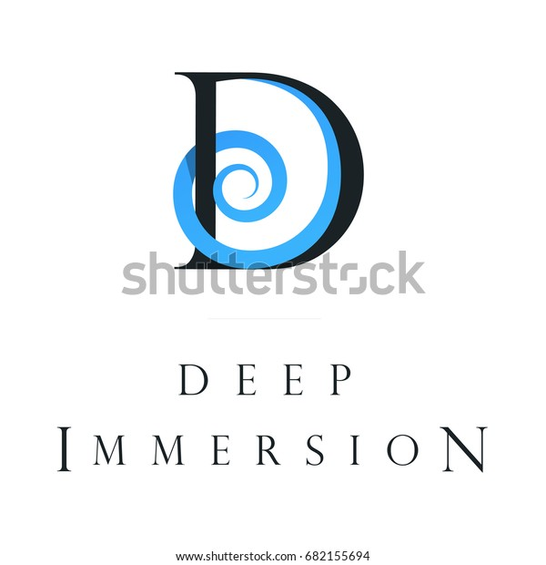 Deep Immersion Logo Design D Letter Stock Vector (Royalty