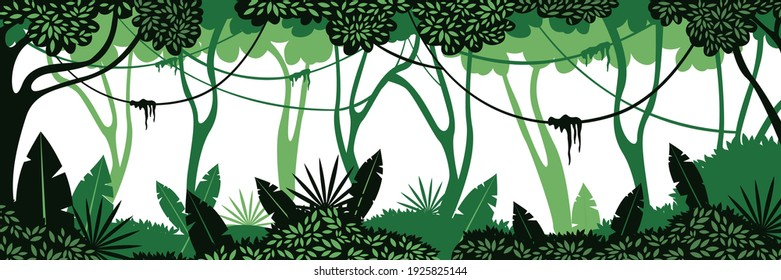 Deep jungle background. Green braided vines hanging from overgrown trees exotic shrubs with wide and small vector leaves.