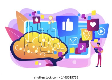 Deep learning algorithm. Artificial intelligence control of internet. AI in social media, AI content tracking, automated image recognition concept. Bright vibrant violet vector isolated illustration
