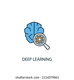 Deep learning concept 2 colored line icon. Simple yellow and blue element illustration. Deep learning concept outline symbol design from Artificial Intelligence set
