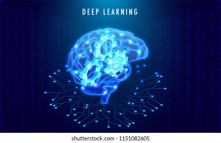 Deep Learning concept based design with isometric illustration of shiny  human brain with cogwheels on matrix or binary coding background.