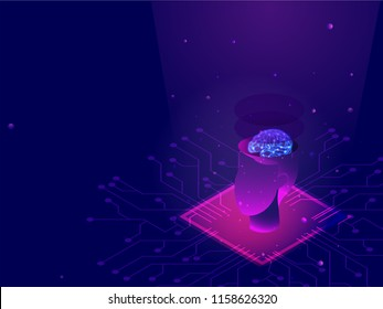Deep Learning concept, human face on processor chip between digital rays on blue background.