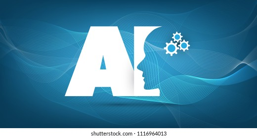 Deep Learning and Future Technology Concept Design with AI Label and Human Head - Vector Illustration