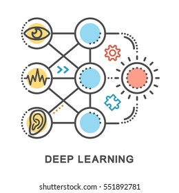 Deep learning icons. Mini illustration. Neural Network Model. Algorithms for pattern recognition, sounds. The thin contour lines with color fills on white background.