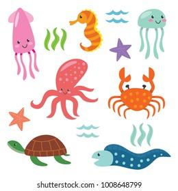 Deep ocean fish .Cute animal cartoon series.