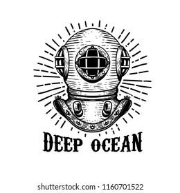 Deep ocean. Old style diver helmet on white background. Design element for t-shirt print, poster, emblem. Vector illustration.