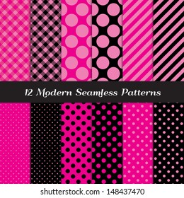 Deep Pink, Pink and Black Jumbo Polka Dot, Gingham and Stripes Patterns. Perfect for Girls Monster party or Pink Paris party or Bachelorette party. Pattern Swatches made with Global Colors.