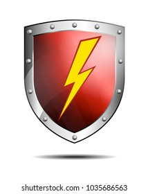 Deep Red Shield with Lightning Bolt Safeguard Icon or Symbol, Protection Antivirus Security Firewall for Computer or Internet Connection