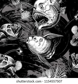 Deep sea anglers and the moon fish. Vector seamless pattern on dark gray background with expressive strokes. Hand-drawn illustration in vintage style.