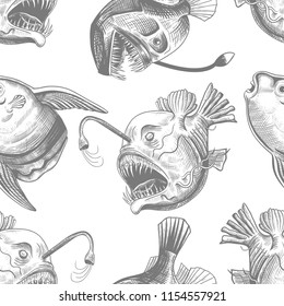 Deep sea anglers and the moon fish. Vector seamless pattern on a white background. Hand-drawn illustration in vintage style.