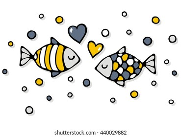 deep sea colorful fishes in love with bubble hearts on white background abstract cartoon illustration