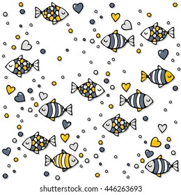 deep sea colorful fishes in love with bubble hearts on white background seamless pattern