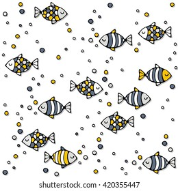 deep sea colorful fishes on white background seamless pattern