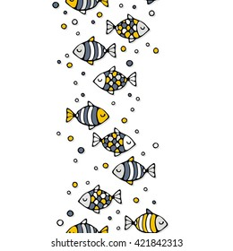 deep sea colorful fishes on white background seamless vertical border