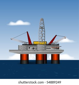 Deep Sea Drilling Platform, Vector
