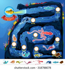 Deep Sea Exploration Treasure Game Map Monsters Of  Deep Blue Sea Collection Set . Contains Nautilus, Coelacanth, Gulpereel, Colossal Squid, Anglerfish, Yellow Submarine