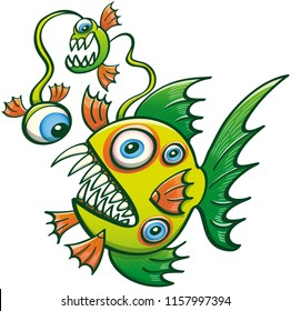 Deep sea fish monster with sharp fins and teeth, multiple eyes and weird creatures attached to its filament while feeling scared by its own monsters