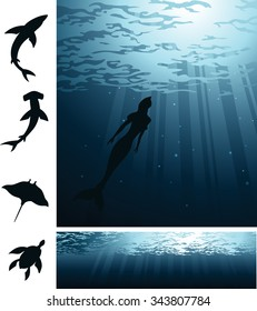 Deep Sea Life-Removable silhouettes of different sea creatures