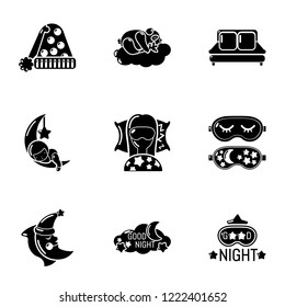 Deep slumber icons set. Simple set of 9 deep slumber vector icons for web isolated on white background