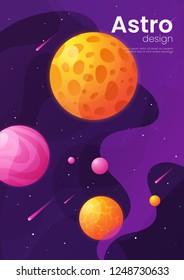 Deep space futuristic cartoon background, cover, brochure template. Vector illustration.