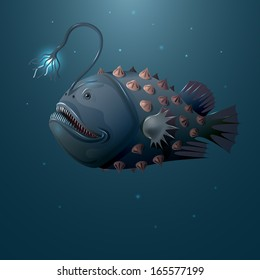 Deep water angler on dark background.