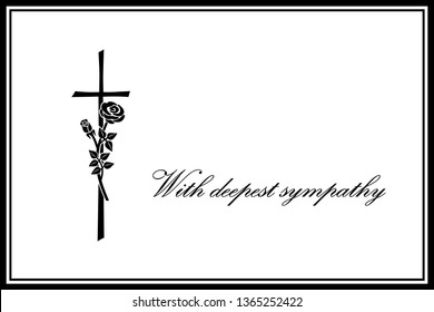 """With Deepest Sympathy"" - Sympathy Card, Crucifix, Rose, Illustration, Landscape Format, Vector"