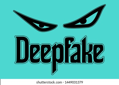 Deepfake concept of evil eyes in vector