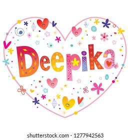 Deepika girls name decorative lettering heart shaped love design