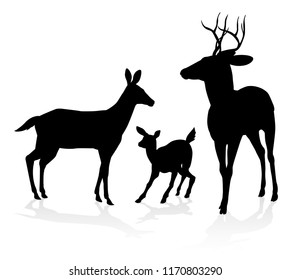Deer animal family silhouettes. Fawn, doe and buck stag